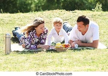 família jovem, tendo uma piquenique, em, natureza