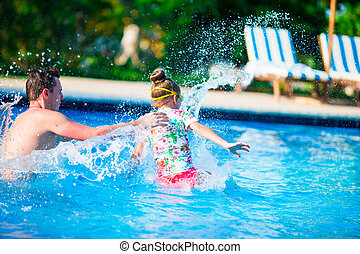 família, junto, Ao ar livre, divertimento, Feliz, tendo, piscina, natação