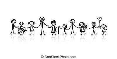 família, junto, esboço, para, seu, desenho
