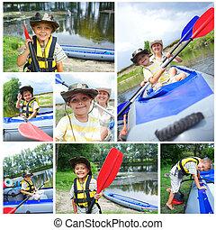 família, kayaking