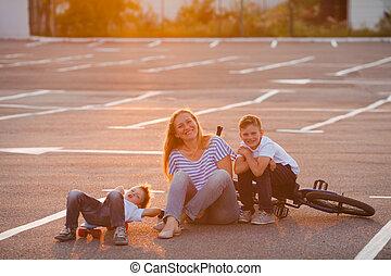 família, lazer, ao ar livre, conceito