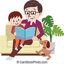 família, ler, junto, sofá, livro, feliz