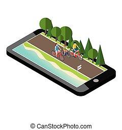 família, ligado, bicycles, estrada, perto, a, praia, e, forest., móvel, geo, tracking., mãe, pai filho