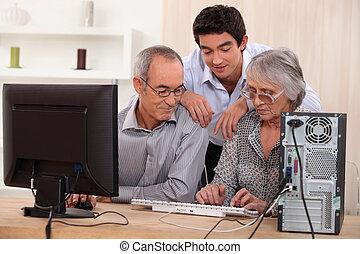 família, ligado, computador