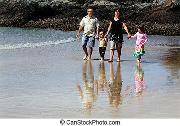 família, ligado, férias verão