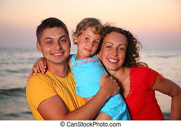 família, ligado, mar, fundo
