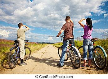 família, ligado, passeio bicicleta
