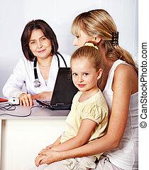 família, ligado, recepção, em, doutor.