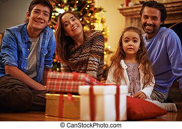 família, ligado, véspera natal