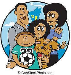 família, mãe, pai, crianças, corte arte