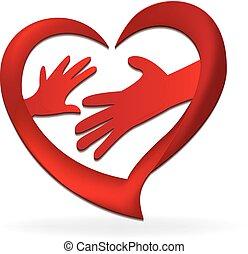 família, mãos, ame coração, logotipo