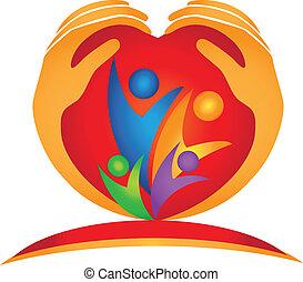 família, mãos, e, forma coração, logotipo
