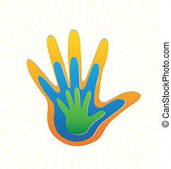 família, mãos, proteção, logotipo, vetorial