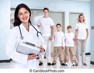 família, médico, mulher, sorrindo, doutor