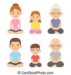 família, meditar, pose lotus