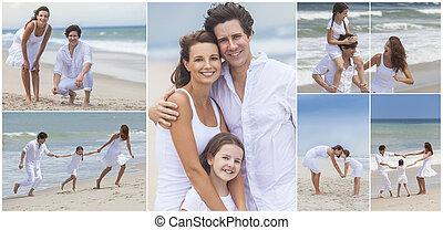 família, montagem, exterior, praia, verão