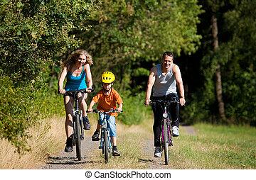 família, montando, bicycles, para, desporto