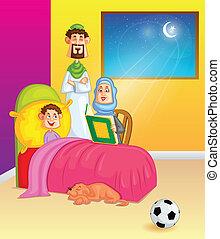 família, muçulmano, véspera, alcorão, eid, leitura
