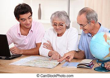 família, olhar, um, mapa