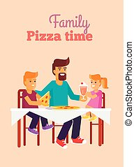 família, pais, ilustração, vetorial, dia, pizza