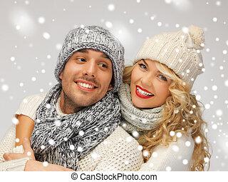 família, par, em, um, roupas inverno