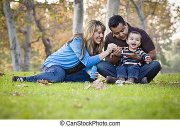família, parque, raça, étnico, misturado, bolhas, tocando,...