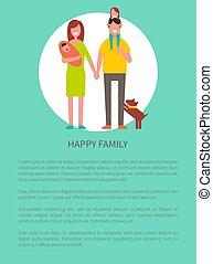 família, pessoas, cartaz, ilustração, vetorial, feliz