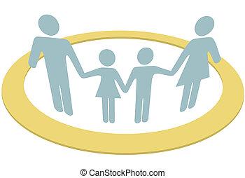 família, pessoas, dentro, cofre, segurança, círculo, anel