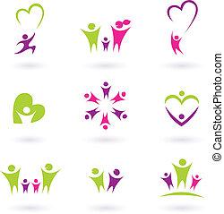 família, pessoas, (, p, relacionamento, ícone, cobrança, cor-de-rosa, verde