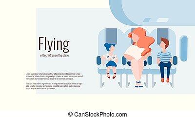 família, plane., voando, férias, mãe, crianças, kids., viagem