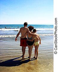 família, praia