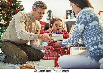 família, preparar, presentes