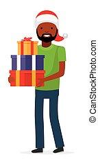 família, presente, americano, holiday., homem africano, chapéu, natal, feliz
