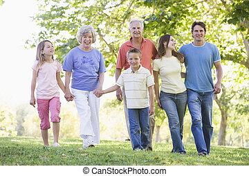 família prolongada, andar, parque, segurar passa, e, sorrindo