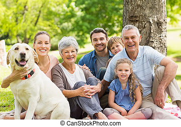 família prolongada, com, seu, animal estimação, cão, em,...