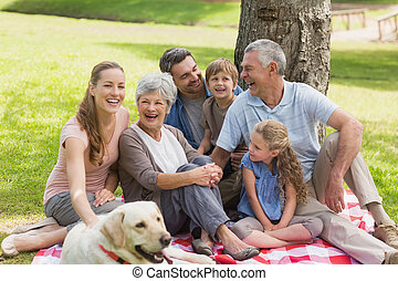 família prolongada, com, seu, animal estimação, cão, em, parque