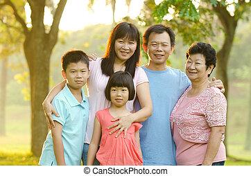 família prolongada, ficar, ao ar livre, sorrindo
