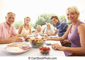 família prolongada, pais, avós, e, crianças, comer ao ar...
