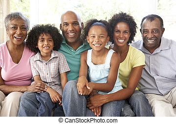 família prolongada, relaxante, sofá, junto, lar