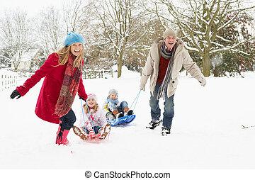família, puxando, trenó, através, nevado, paisagem