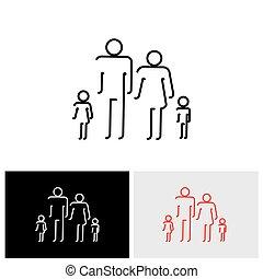 família quatro, pessoas, abstratos, ícones, usando, abstratos, forre desenho, -, vetorial, ícone