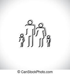 família quatro, pessoas, abstratos, ícones, usando, forre desenho