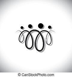 família quatro, pessoas, abstratos, symbols(icons), usando, linha, voltas