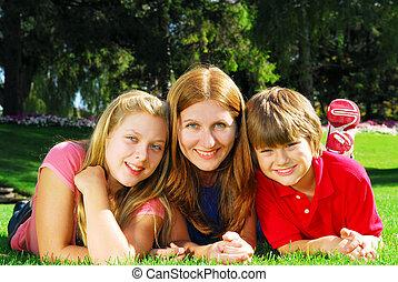 família, relaxante, em, um, parque