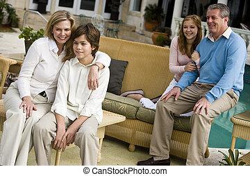 família, relaxante, ligado, pátio