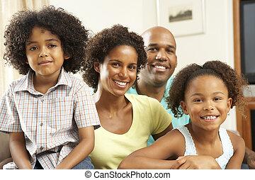 família, relaxar repouso, ligado, sofá
