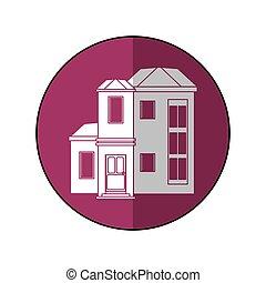 família, roxo, casa, residencial, círculo, sombra