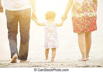 família, segurar passa, ligado, praia