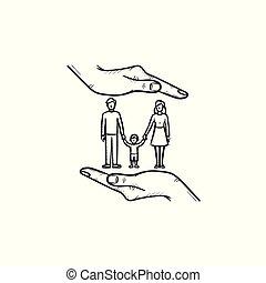 família, seguro, mão, desenhado, esboço, icon.