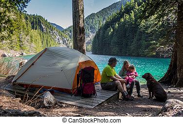 família, selva, acampamento